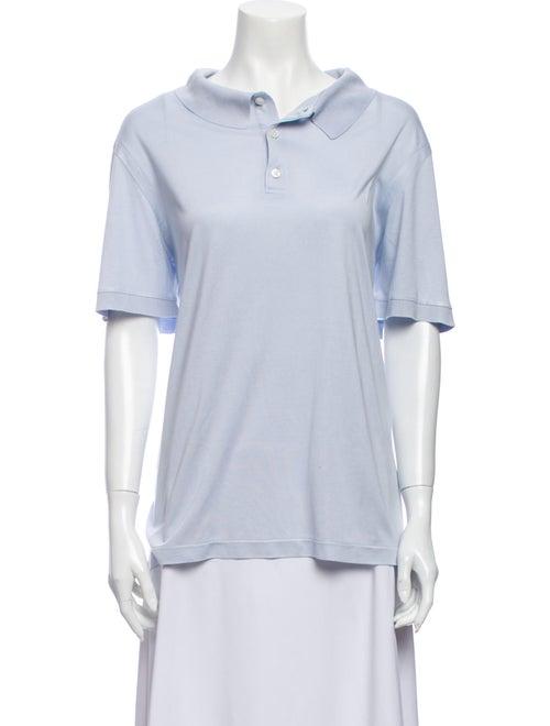 Brioni Short Sleeve Polo Blue