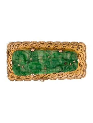 18K Dyed Jadeite Brooch Pin