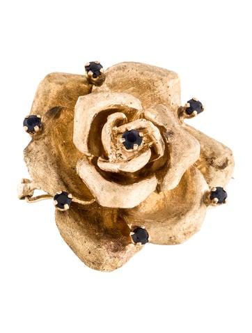 14K Sapphire Rose Brooch
