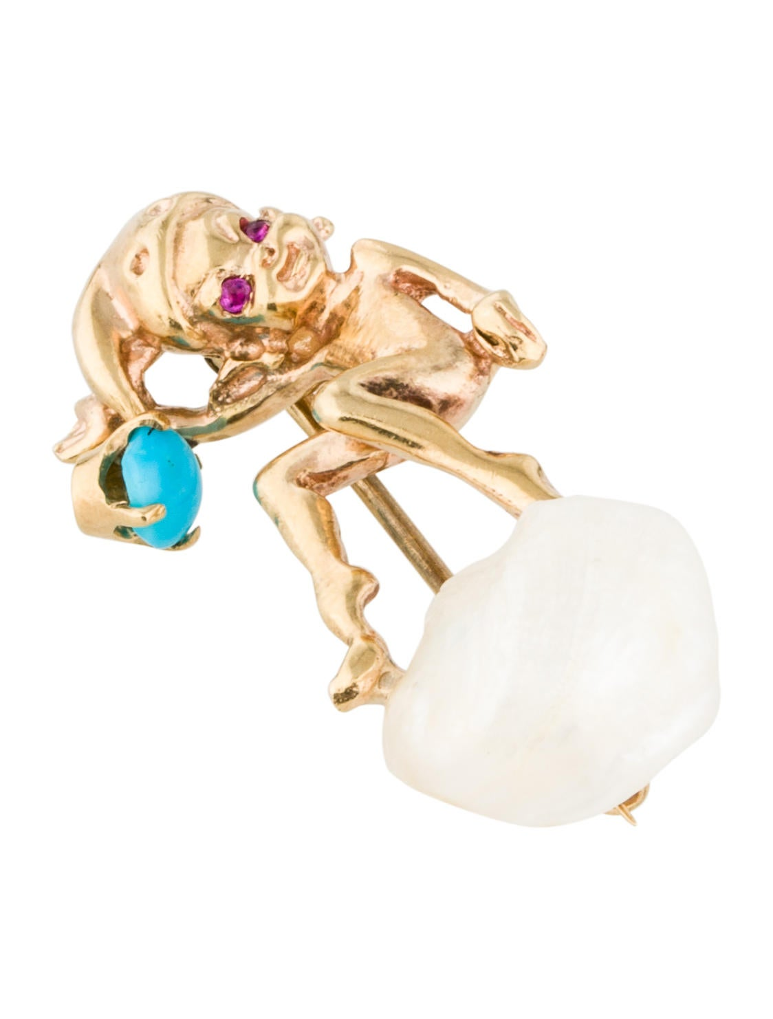 Brooch 14K Pearl, Ruby & Turquoise Elf Pin