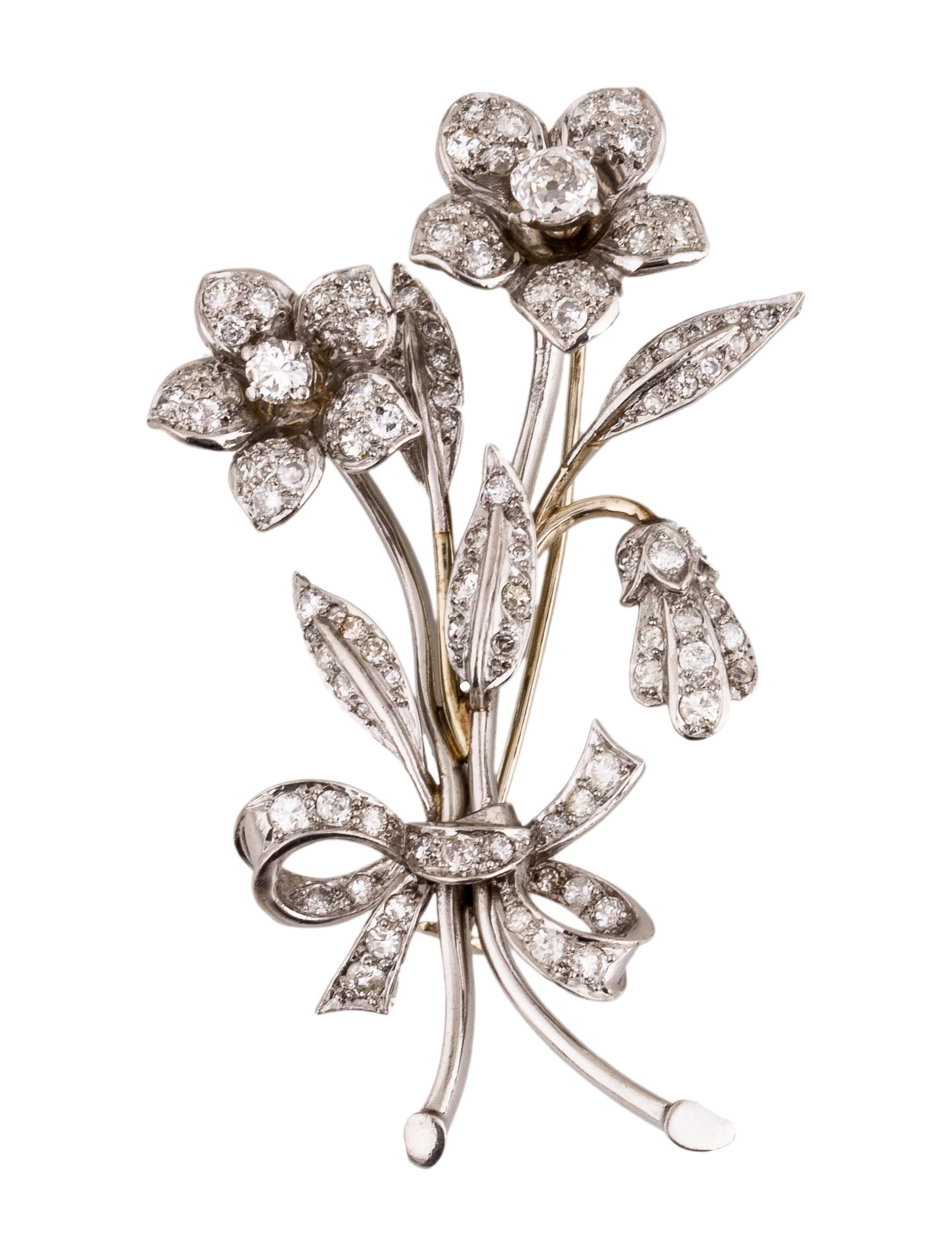 Antique Diamond Flower Bouquet Brooch Brooches Brooc21169 The