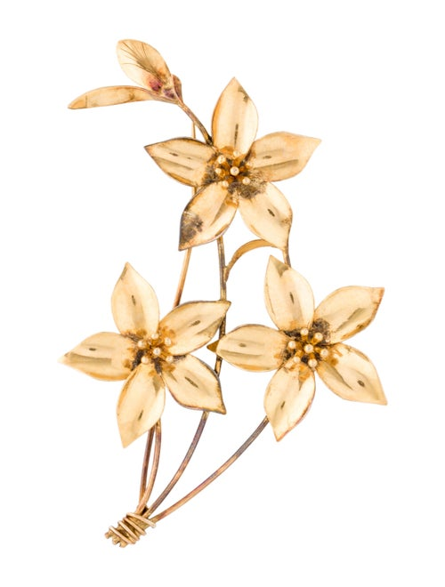 14K Floral Brooch yellow