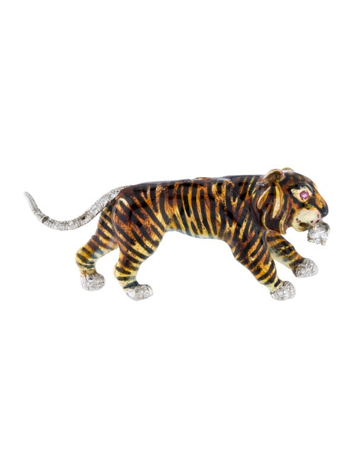 18K Enamel, Ruby & Diamond Tiger Brooch white - image 1