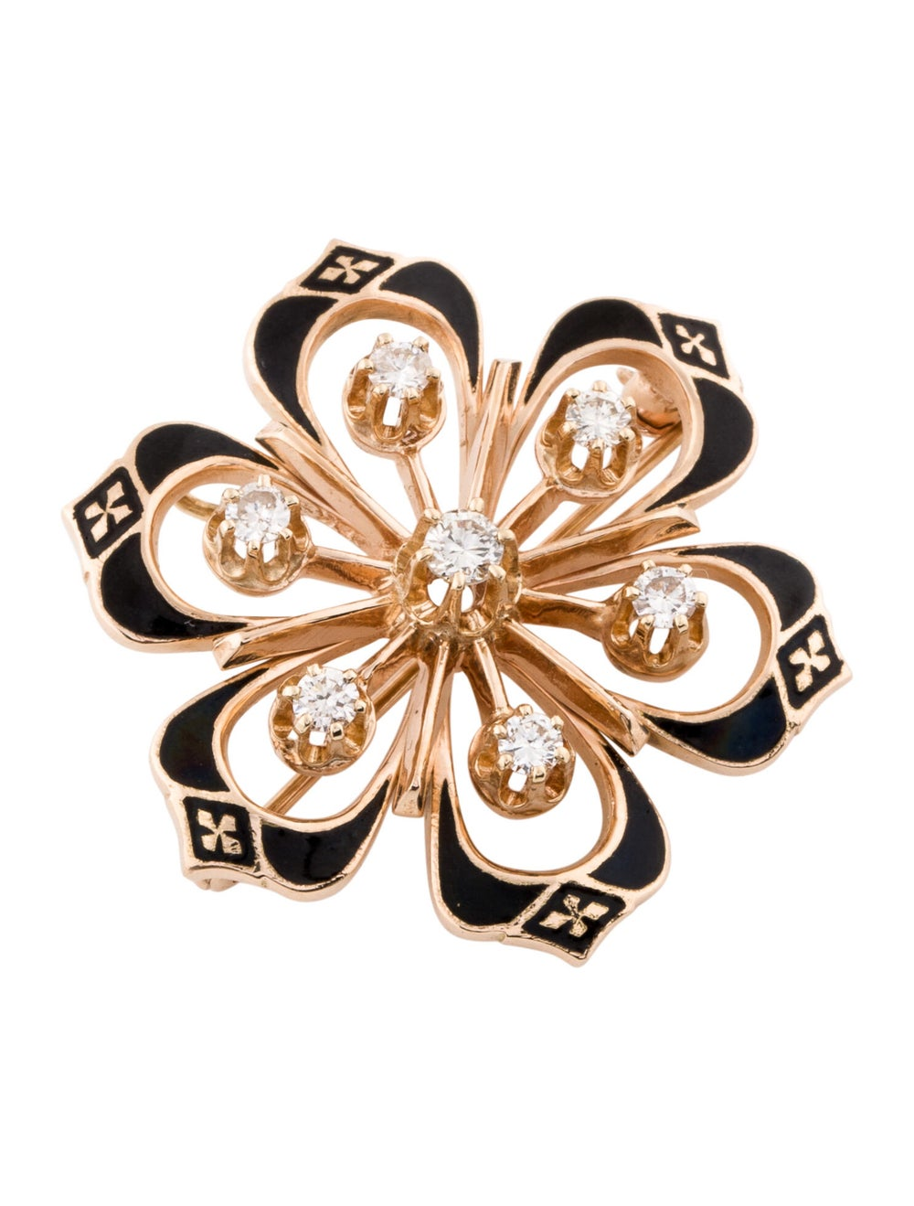 14K Diamond Pendant Brooch rose - image 3