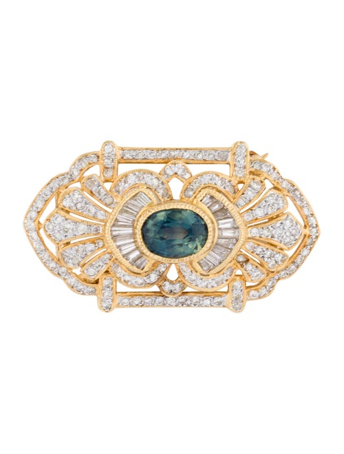 Brooch 18K Sapphire & Diamond Pin Brooch yellow