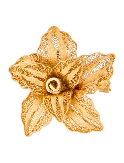 Brooch Floral Pin Brooch yellow
