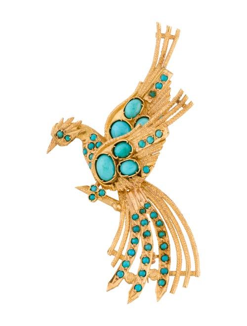 Brooch 18K Turquoise Bird Brooch yellow