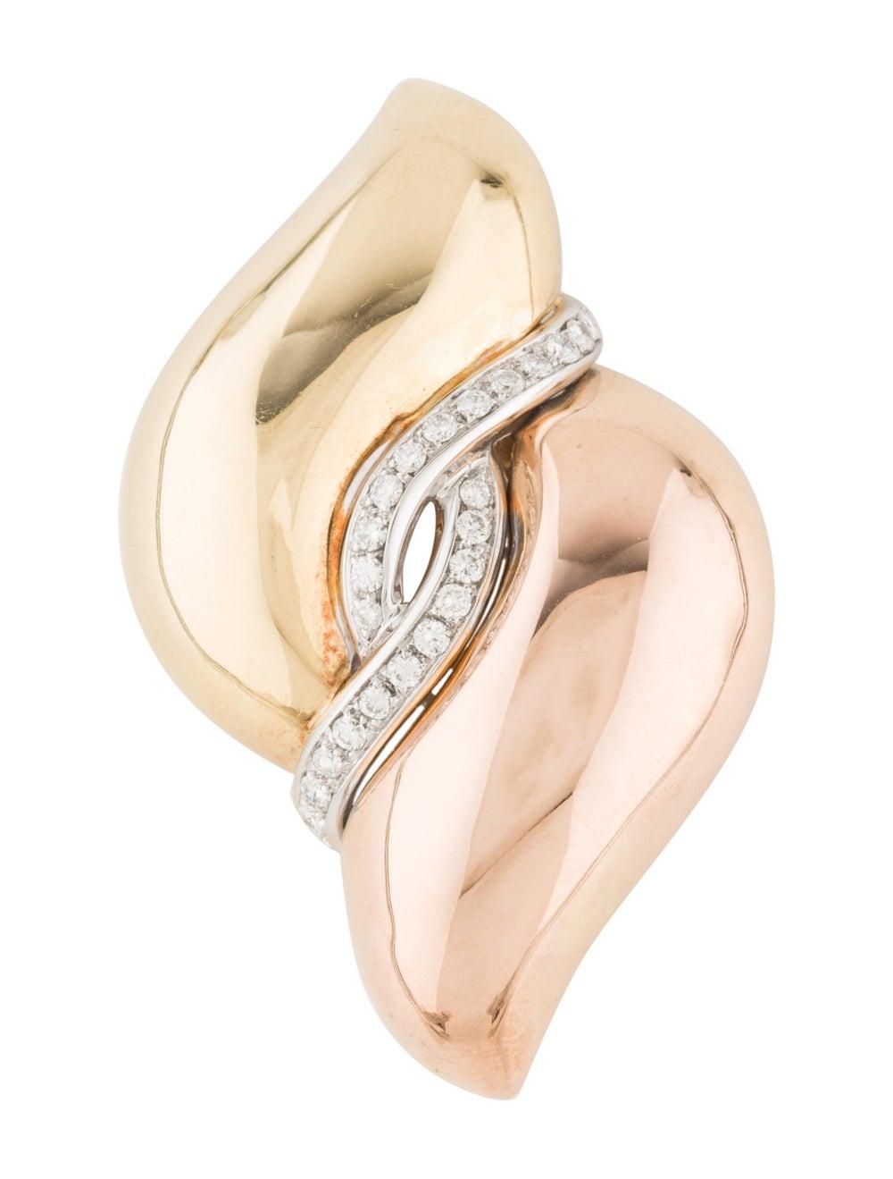 Brooch 18K Diamond Brooch Rose - image 1