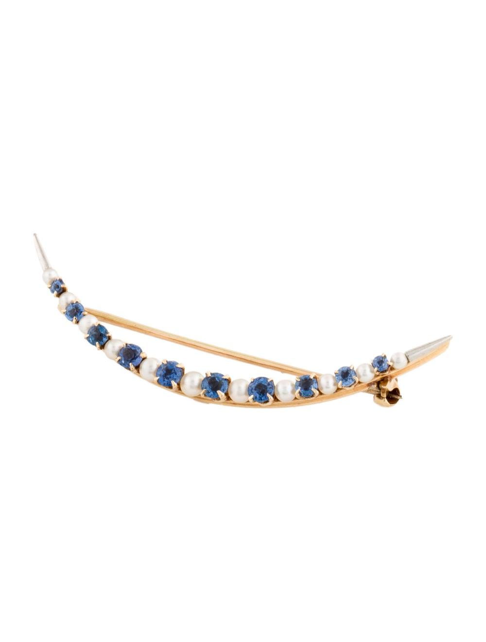 Brooch Vintage Sapphire & Pearl Brooch Yellow - image 3