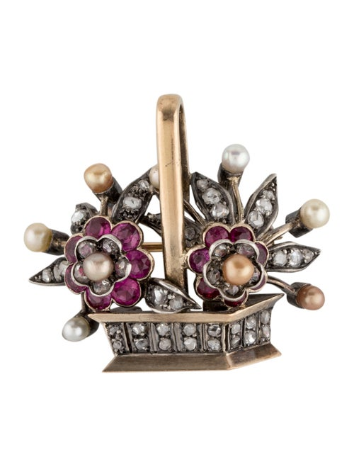 Brooch Vintage Pearl, Diamond & Synthetic Ruby Bou