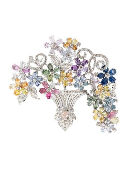 Brooch 14K Sapphire, Tourmaline & Diamond Brooch W