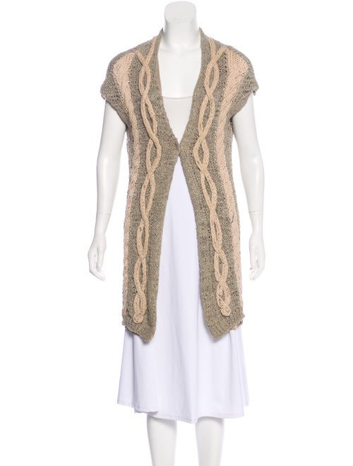Brunello Cucinelli Sleeveless Cable Knit Cardigan