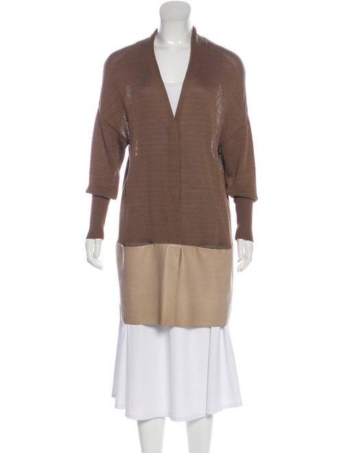 Brunello Cucinelli Leather Trim Cardigan Sweater B