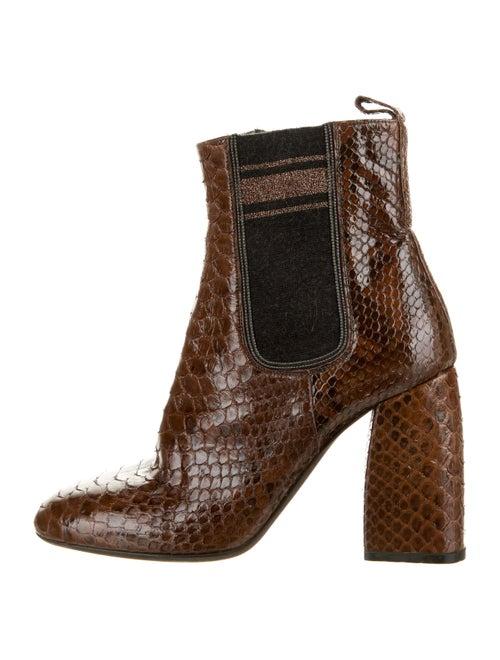 Brunello Cucinelli Snakeskin Ankle Boots Brown