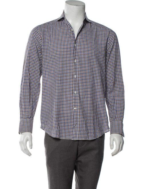 Brunello Cucinelli Checkered Button-Up Shirt blue