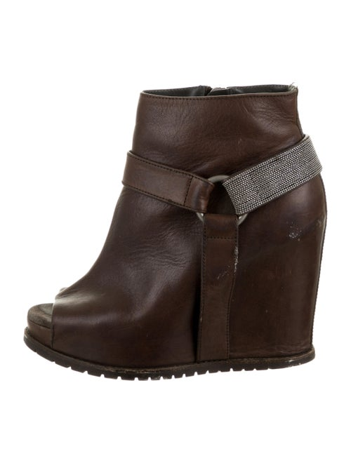 Brunello Cucinelli Peep-Toe Wedge Ankle Boots