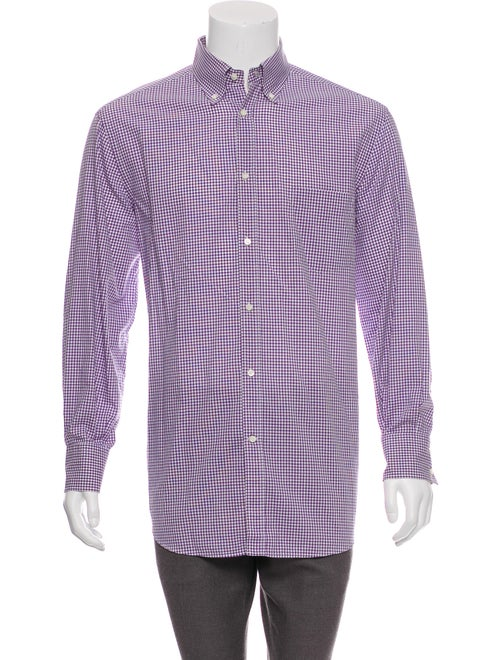 Brunello Cucinelli Gingham Dress Shirt purple