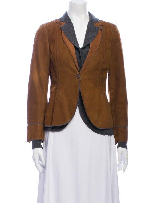 Brunello Cucinelli Leather Blazer Brown