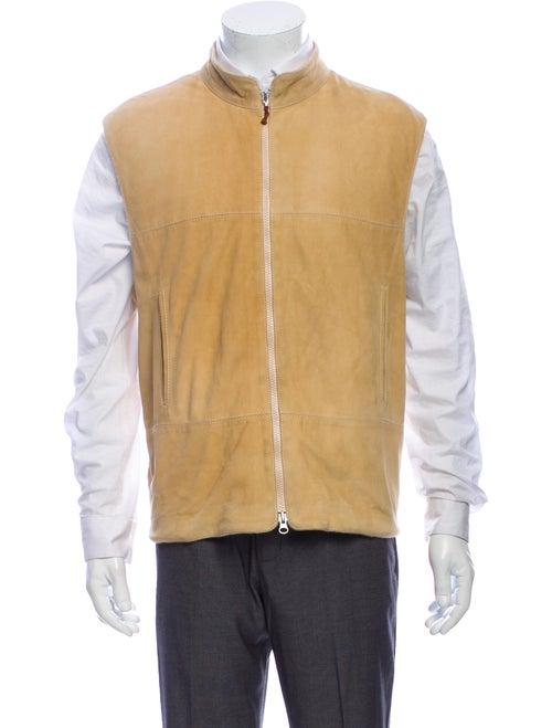 Brunello Cucinelli Suede-Paneled Knit Vest tan