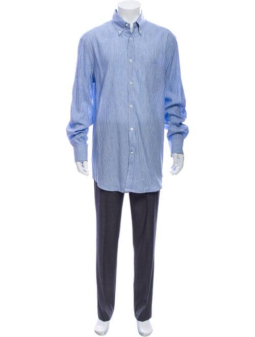 Brunello Cucinelli Linen Striped Dress Shirt Blue