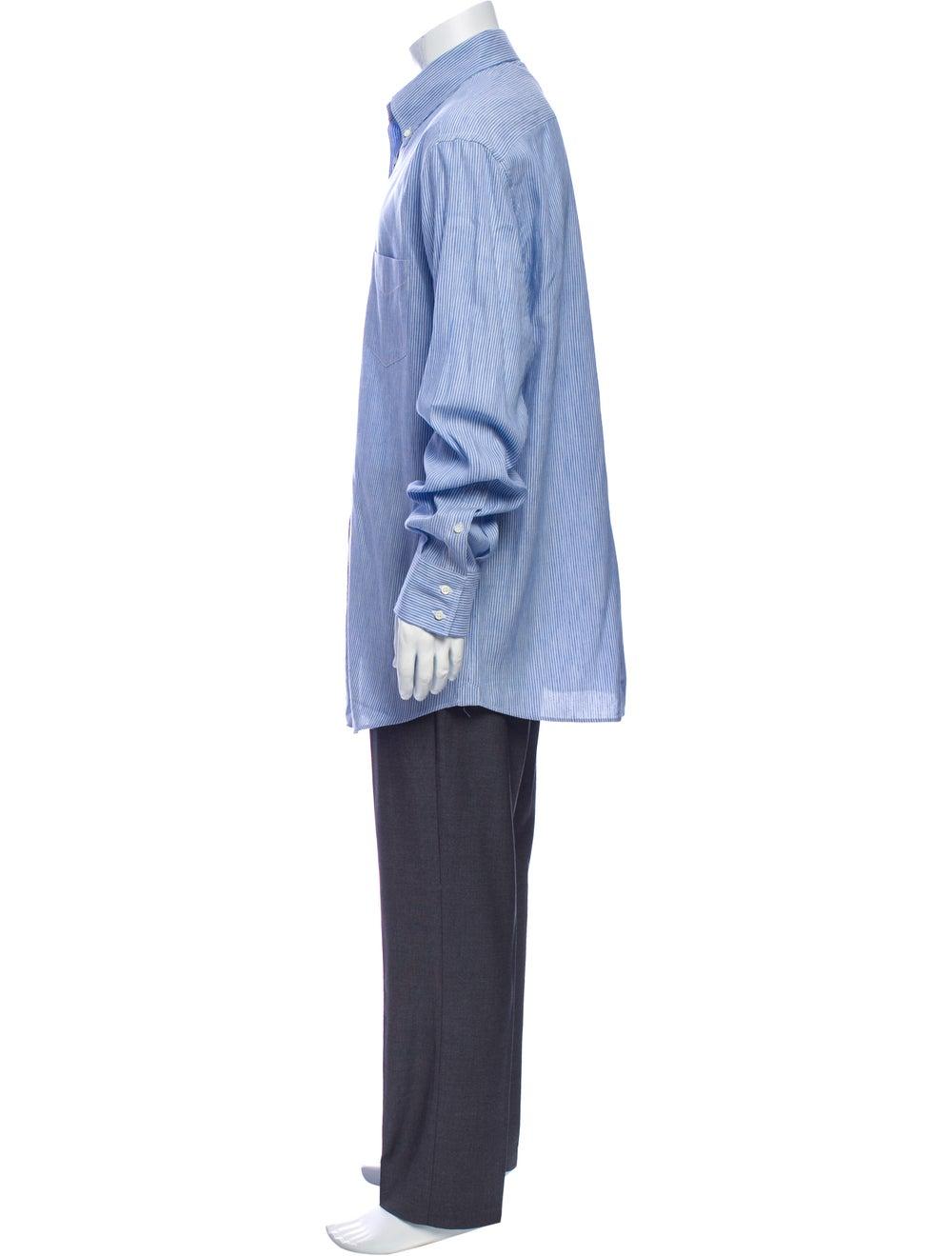 Brunello Cucinelli Linen Striped Dress Shirt Blue - image 2