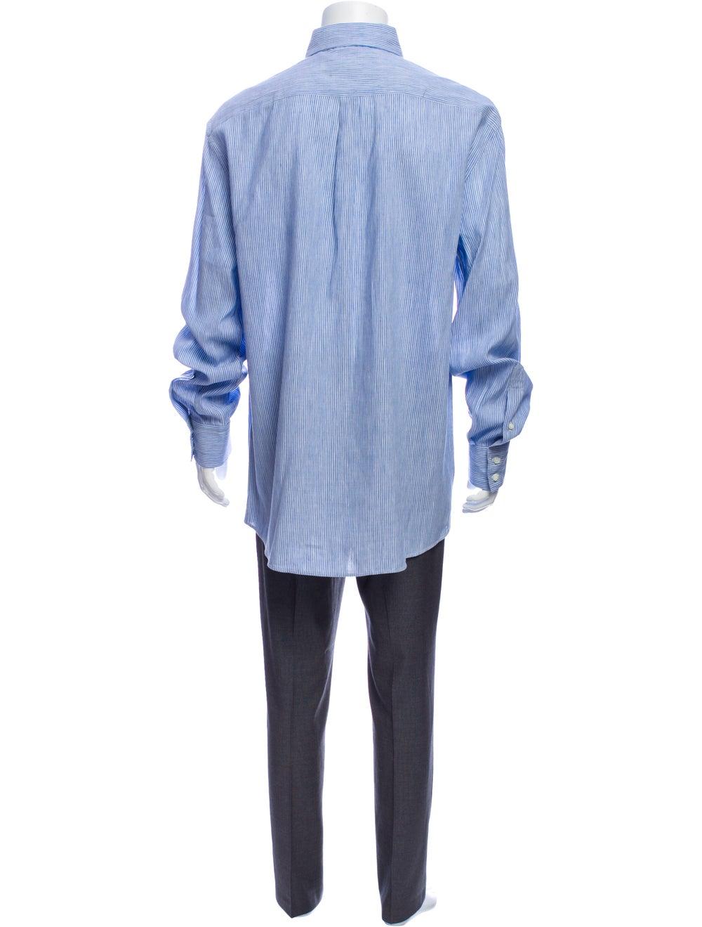 Brunello Cucinelli Linen Striped Dress Shirt Blue - image 3