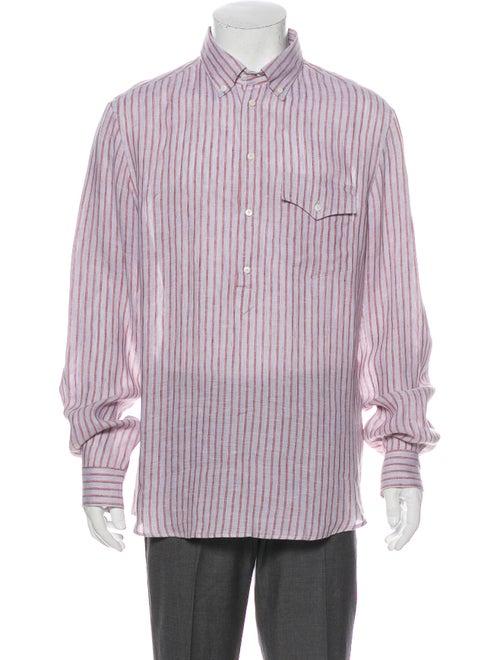 Brunello Cucinelli Linen Striped Dress Shirt Grey