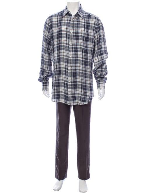 Brunello Cucinelli Linen Plaid Print Shirt Blue