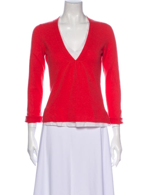 Brunello Cucinelli Cashmere V-Neck Sweater Pink