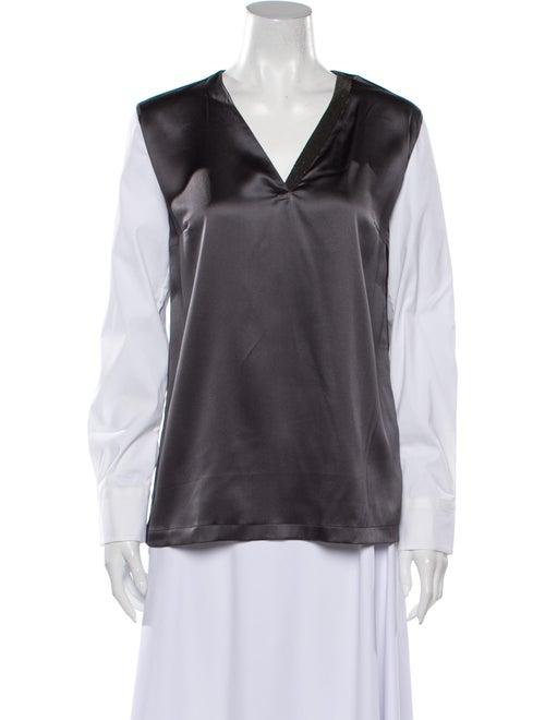 Brunello Cucinelli Silk V-Neck Blouse w/ Tags Grey