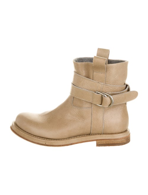 Brunello Cucinelli Leather Moto Boots Gold