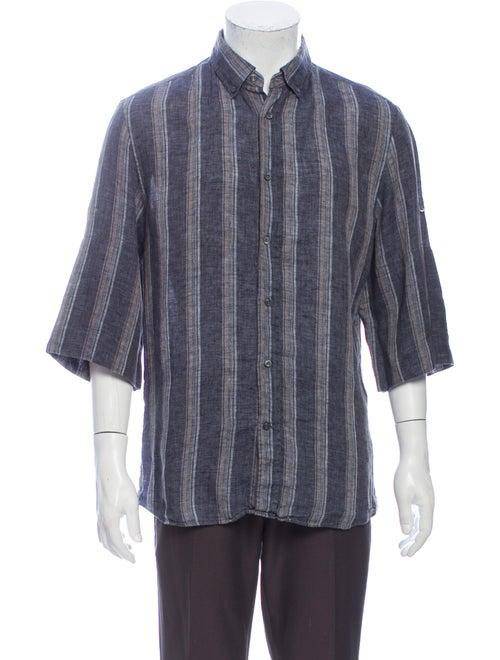 Brunello Cucinelli Linen Striped Shirt Grey
