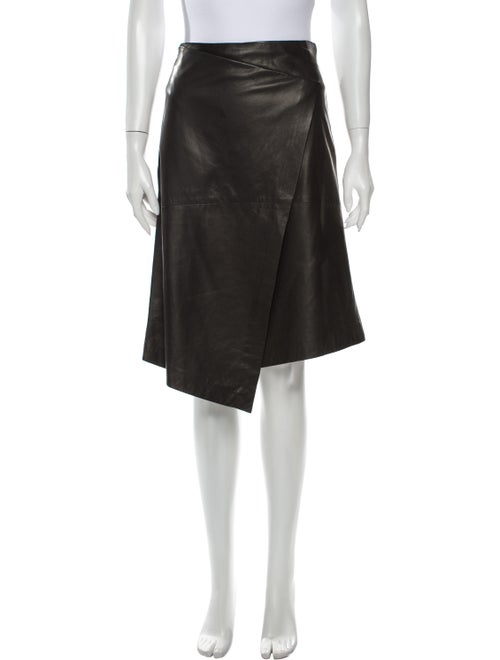 Brunello Cucinelli Leather Knee-Length Skirt Green