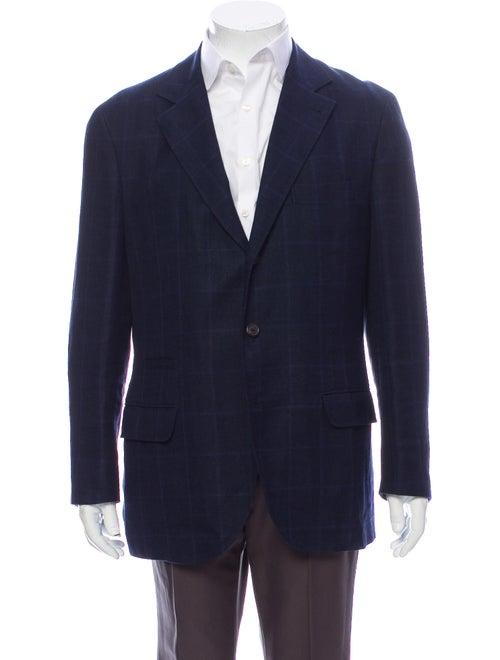 Brunello Cucinelli Linen Striped Blazer Blue