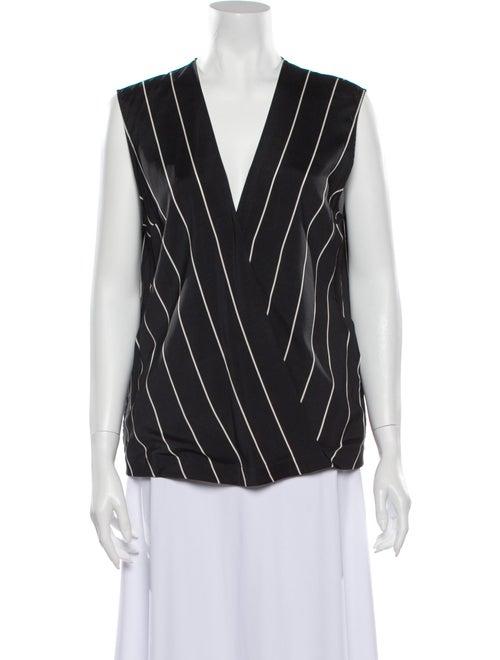 Brunello Cucinelli Silk Striped Blouse Black