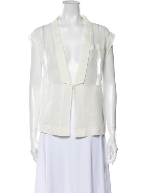 Brunello Cucinelli V-Neck Sleeveless Blouse White