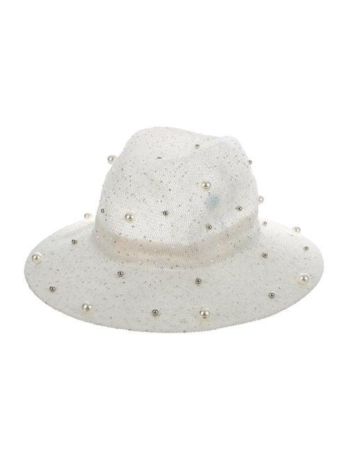 Brunello Cucinelli Metallic Straw Wide Brim Hat Wh