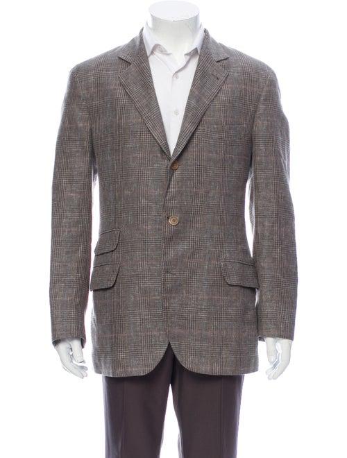 Brunello Cucinelli Linen Printed Blazer Grey