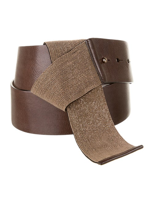 Brunello Cucinelli Monili-Trimmed Leather Belt Bro