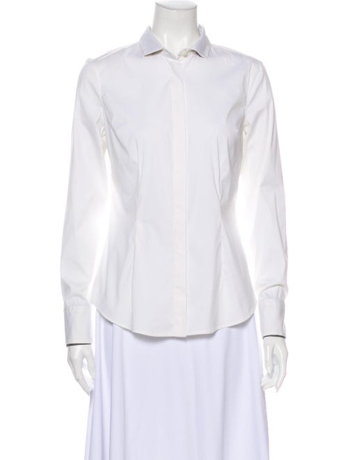 Brunello Cucinelli Long Sleeve Button-Up Top White