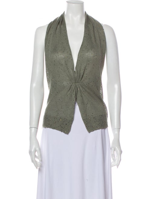 Brunello Cucinelli Linen V-Neck Sweater Green