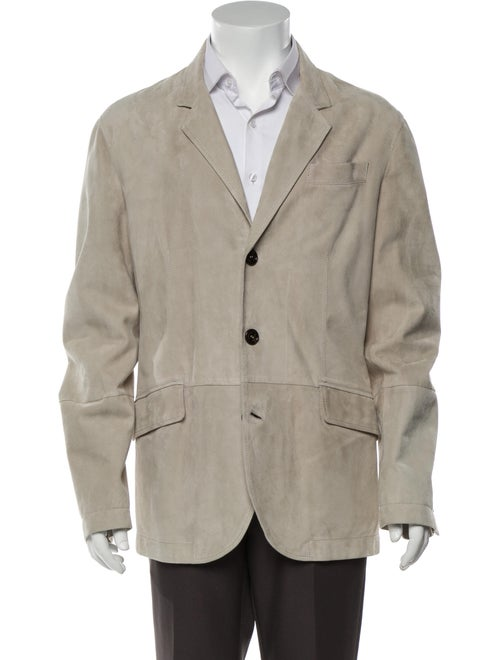 Brunello Cucinelli Leather Sport Coat Grey