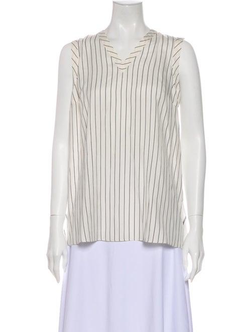 Brunello Cucinelli Silk Striped Blouse White