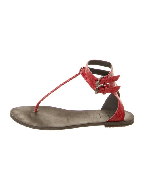 Brunello Cucinelli Embossed Leather T-Strap Sandal