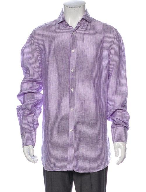 Brunello Cucinelli Linen Striped Dress Shirt Purpl