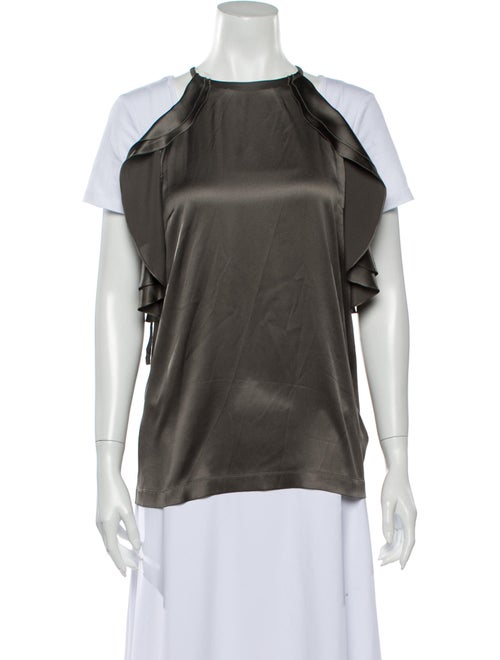 Brunello Cucinelli Silk Crew Neck Blouse Grey