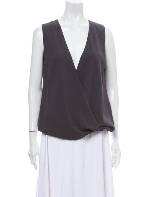 Brunello Cucinelli Silk V-Neck Blouse Grey