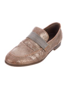 Brunello Cucinelli Monili Leather Loafers