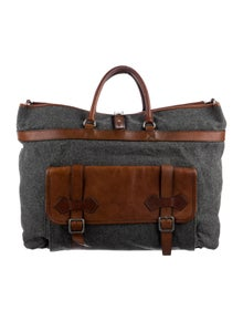Brunello Cucinelli Leather Trimmed Terry Cloth Weekender Bag
