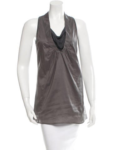 Brunello Cucinelli Silk-Trimmed Sleeveless Top None